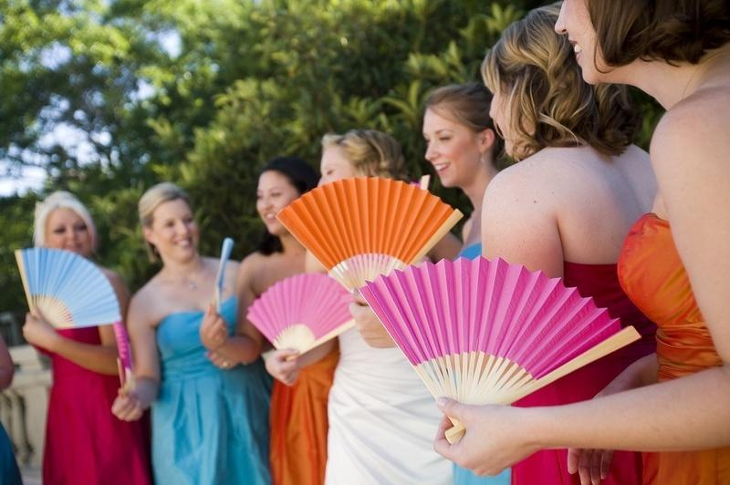 bridesmaids colourful paper fans