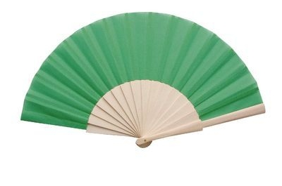 Green Fabric & Wooden Fan