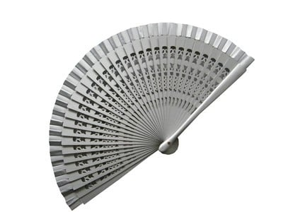 Silver Wedding Fan with Large Carved Wooden Ribs