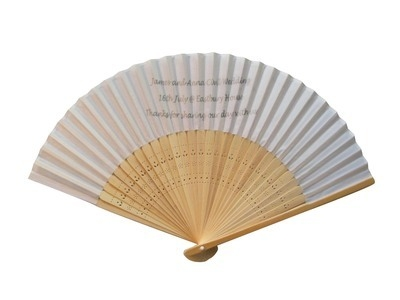 Personalised White Wedding Fans - Fabric and Bamboo