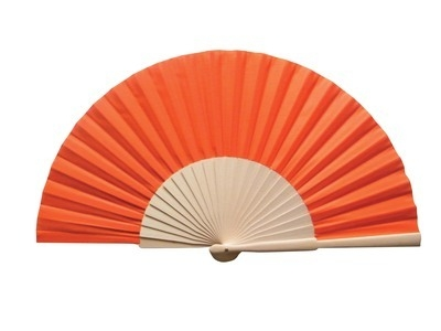Orange Fabric & Wooden Fan