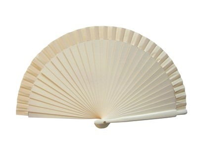 NEW! Cream Wooden Wedding Fan (19cm)
