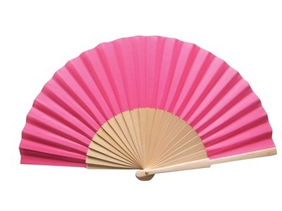 Dark Pink Fabric & Wooden Fan
