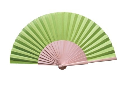 Lime Green Fabric & Wooden Fan