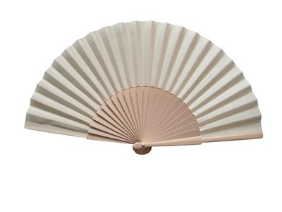 Plain Ivory/Cream Fabric & Wooden Wedding Fan