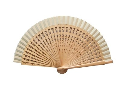 Ivory Wedding Fan with Carved Ribs