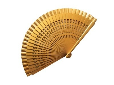 Gold Wedding Fan Large Carved Wooden Ribs (23 cm)