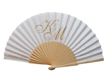 NEW! Personalised Wedding Fans - Fabric and Wooden Handle