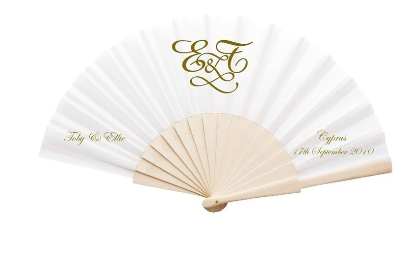 New Personalised Wedding Fans Fabric And Wooden Handle