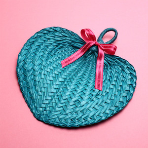 Turquoise Tropical Buri Straw Fans