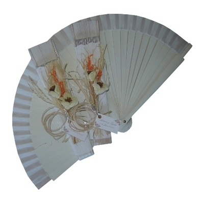 NEW! White Decorated Wedding Fan - Rustic