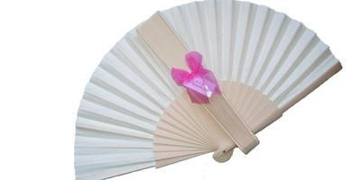 Plain Ivory Fabric Fan with Dark Pink Organza Bows - SPECIAL OFFER!