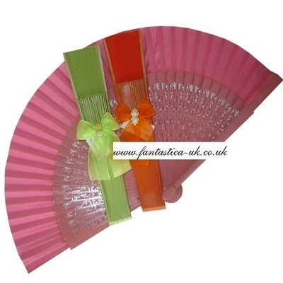 Decorated Wedding Fans - Assorted Bright Colours (Carved Bows)