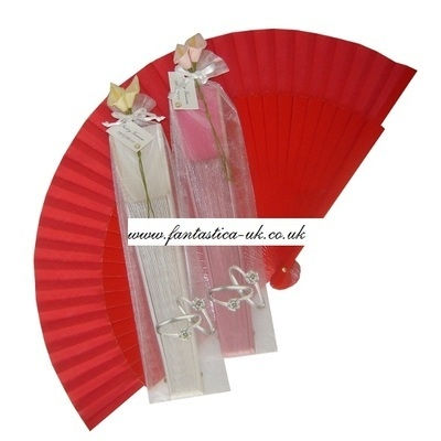 Decorated Wedding Fans - Assorted Bright Colours (Plain / Organza Bag Silver Rings)