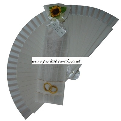 NEW! White Wedding Fan - With Organza Bag and Sunflower