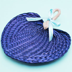 Blue Tropical Buri Straw Fans