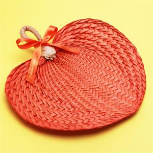 Orange Tropical Buri Straw Fans