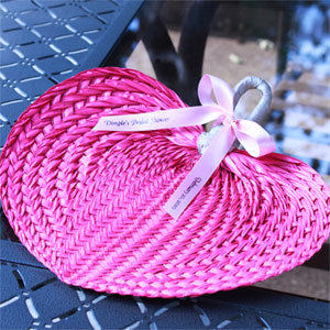 Pink Tropical Buri Straw Fans