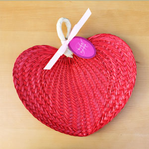 Red Tropical Buri Straw Fans