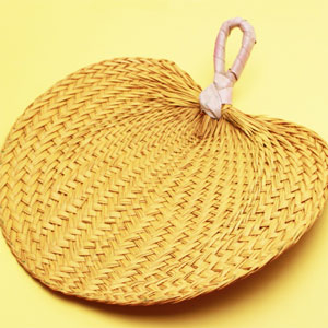 Yellow Tropical Buri Straw Fans