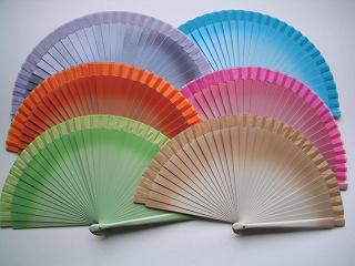 Wooden Two Tone Fan - Assorted colours 19 cm