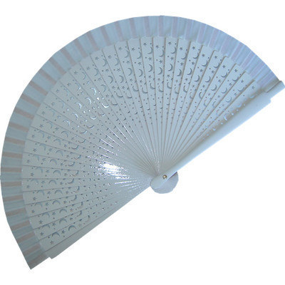 White Wedding Fan with Carved Ribs (Stars)
