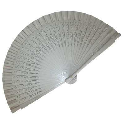 Silver Wedding Fan Small Carved Wooden Ribs (ref: 01020)
