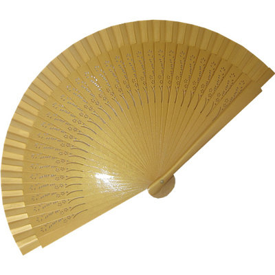 Gold Wedding Fan Small Carved Wooden Ribs