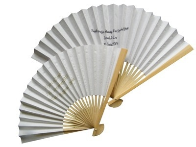 Personalised Plain Coloured Paper Fans
