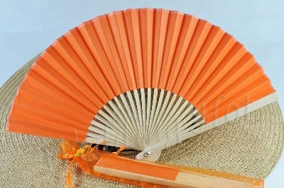 CLEARANCE SALE - Orange Paper Hand Fan in Gift Bag