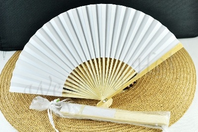 CLEARANCE SALE - White Paper Hand Fan in Gift Bag