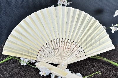 CLEARANCE SALE - Light Yellow Silk Fans