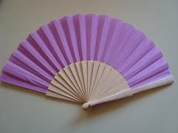Lilac Fabric & Wooden Fan