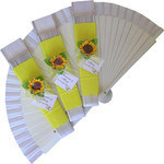 White Decorated Wedding Fan with Sunflowers