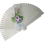 White Decorated Wedding Fan Purple Flowers