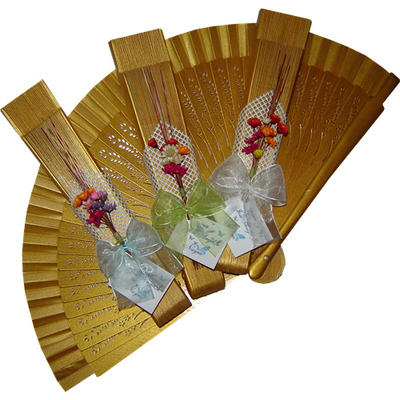 Gold Decorated Wedding Fan Ladies First