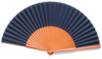 Navy Blue Fabric & Wooden Fan