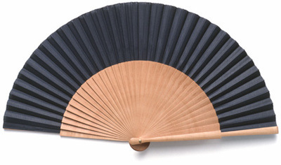 Black Fabric & Wooden Fan