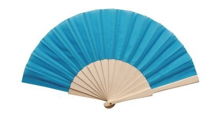 Turquoise Fabric & Wooden Fan