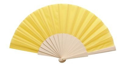 Yellow Fabric & Wooden Fan