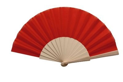 Red Fabric & Wooden Fan