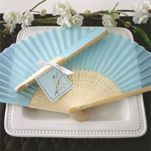 Turquoise Silk Fans