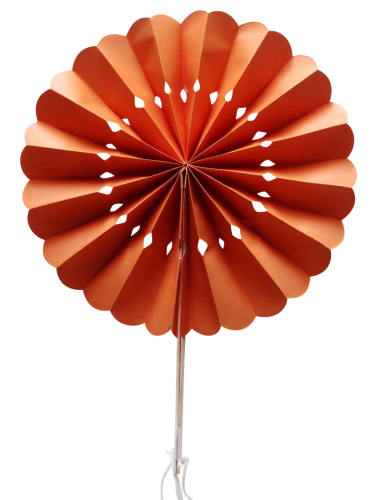 Orange Flower Paper Fans (packs of 10)