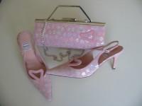 Renata designer shoes matching bag pink silver mother bride size 6.5