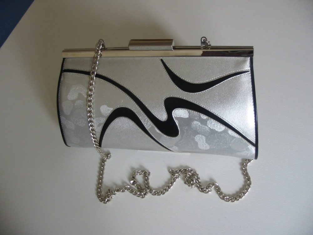 Renata occasions semi barrel shoulder bag clutch silver black design mother