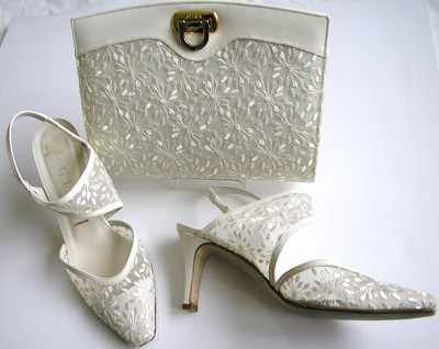 Desiger Gina shoes matching bag mother bride ivory lace size 5.5