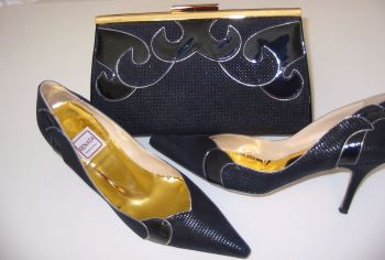 Renata mother bride navy gold shoes matching 3 way bag size 3