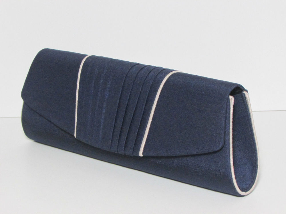 Jacques Vert navy shantung clutch shoulder bag  with ivory trim