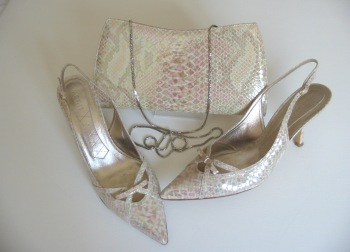 Magrit designer shoes matching bag cream iridescent size 5.5 new