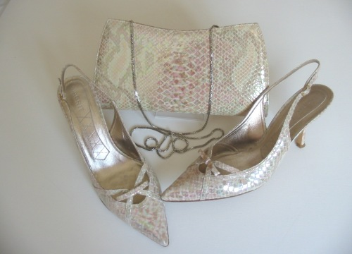 Magrit designer shoes matching bag cream iridescent size 5.5 new